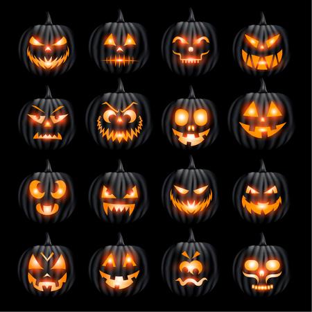 Pumpins jack o lantern halloween face set on black background