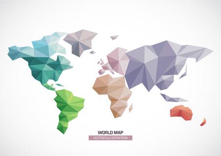 벡터 세계지도 디자인 삼각형 패턴은 differents 색상과 대륙