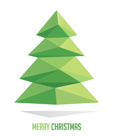 abstract tree: Christmas tree isolated on a white backgrounds, vector illustration geometrical abstract triangle