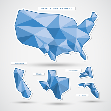 3d paper art: Geometric blue united states of america map and states Illustration