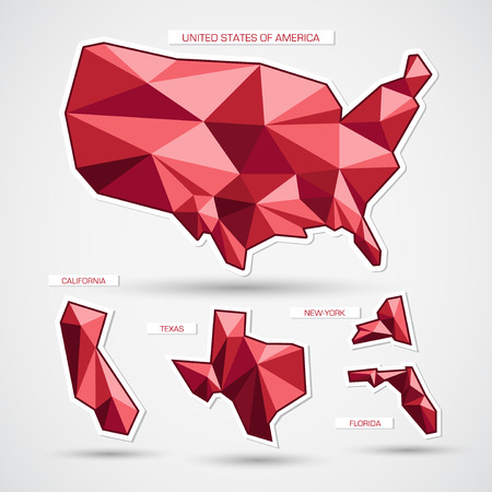 geographic: Red geographic triangle business map Illustration