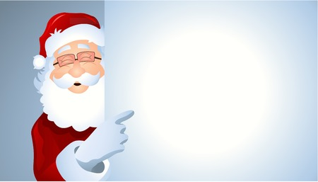 portrait of cartoon Santa Claus showing billboard