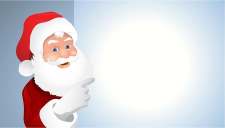 bill board: portrait of cartoon Santa Claus showing billboard