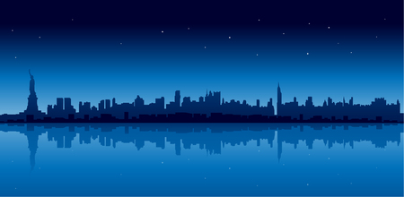 new york night: New york city skyline in blue version at night reflect on water