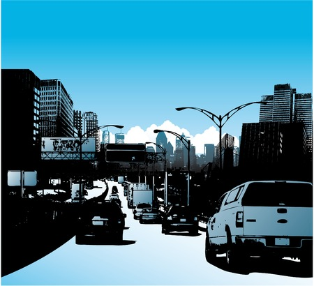 city: Downtown city and traffic on highway vector illustration Illustration