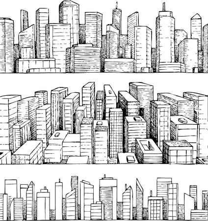 Hand drawn vector cityscape city illustration