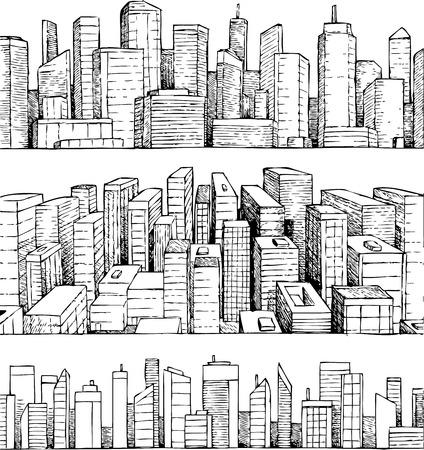 Hand getrokken vector cityscape illustratie Stock Illustratie