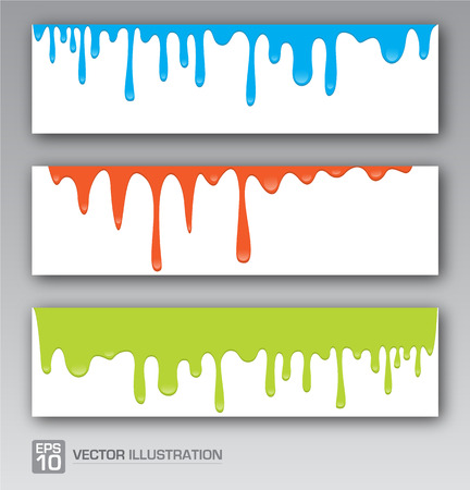 primary colors: Paint colorful dripping background vector illustration Illustration