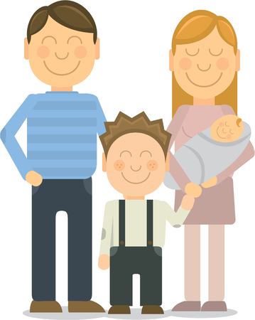 members: Vector Happy family portrait. Happy family gesturing with cheerful smile Illustration
