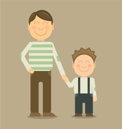 single parent: Vector Happy father and son smiling and holding their hands Illustration