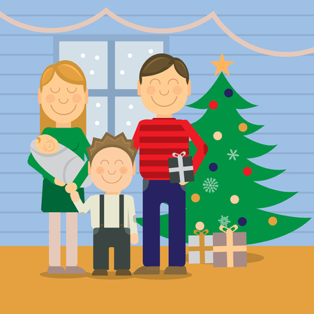 kid illustration: Happy family at Christmas, vector greeting card Illustration
