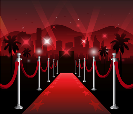 Roten Teppich Premiere elegant event mit Hollywood im Hintergrund Illustration