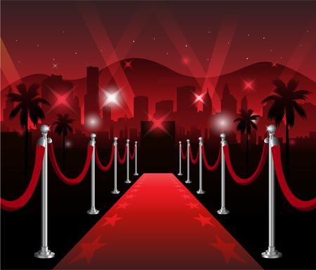 Tappeto rosso premiere evento elegante con hollywood in background
