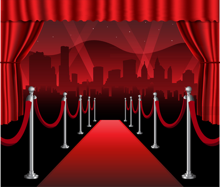 Red carpet movie premiere elegant event with hollywood in background Çizim