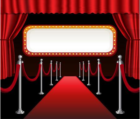 telon de teatro: Alfombra roja premier de la película del teatro evento elegante cortina roja y el signo bandera cartelera Vectores