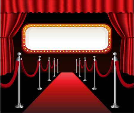 red sign: Red carpet movie premiere elegant event red curtain theater and billboard banner sign