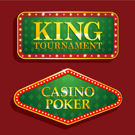 hold'em: Golden poker casino banners isolated on red background