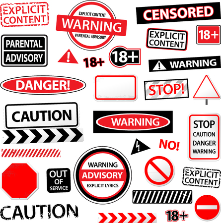 access restricted: Warning caution explicited advisory vector sign and symbol Stock Photo