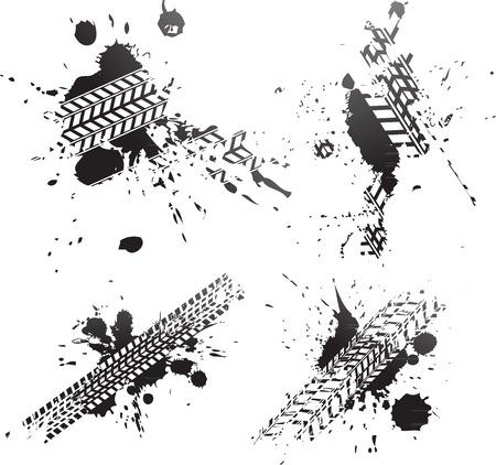 Black tire tracks splat isolated on white background