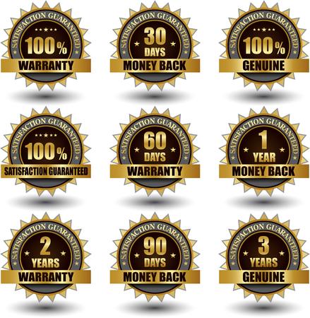 Vector set of 100 percent satisfaction guarantee golden labels