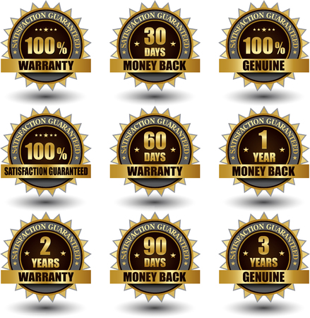 Vector set of 100 percent satisfaction guarantee golden labels