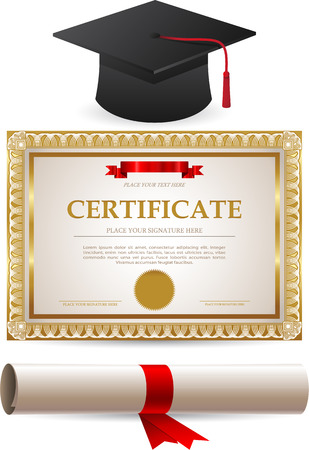Golden certificate diploma and graduation cap isolated on white