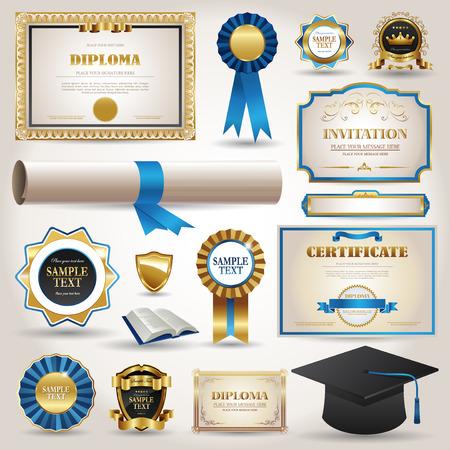 Laurea e gli elementi di diploma certificato di collezione elegante Archivio Fotografico