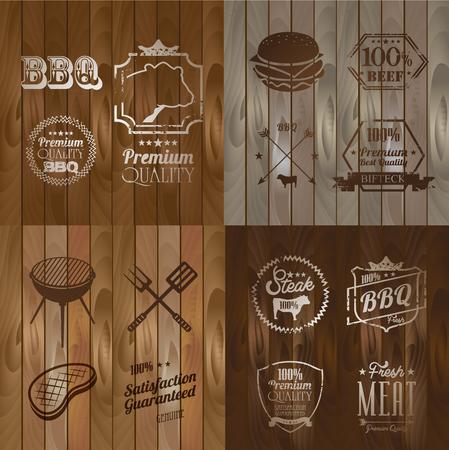 patch of light: Vintage BBQ Beef menu restaurant symbol on Wooden striped fiber textured background Illustration