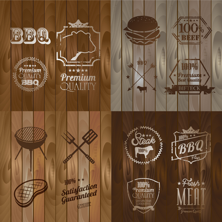 bbq: Vintage BBQ Beef menu restaurant symbol on Wooden striped fiber textured background Illustration