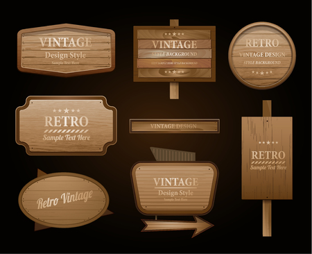 banner ad: Realistic vector wood sign and banner isolated on black