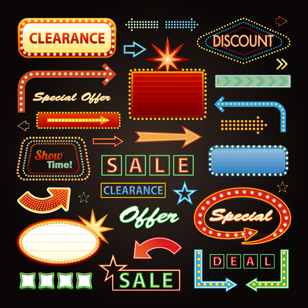 Retro Showtime Signs Design Elements and Bright Billboard Signage Light Bulbs frame and arrows Vettoriali