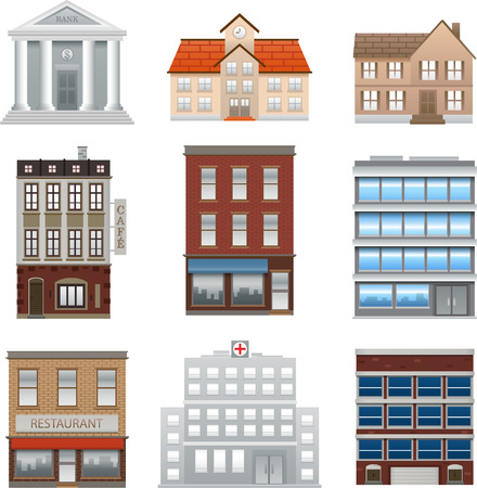 caf: Various vector illustration building office isolated on white