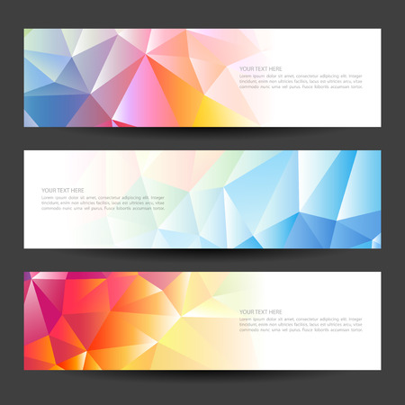 Set of banners with a polygonal geometric background with different design elements and colors