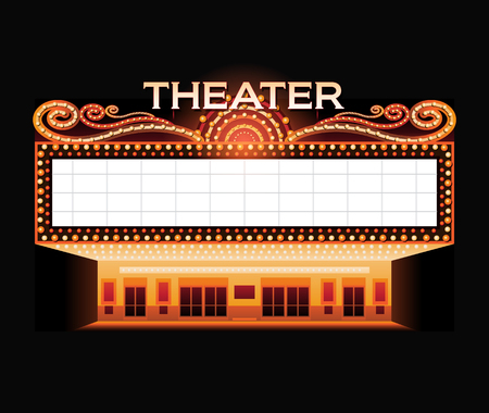 movie theater: Brightly vintage glowing retro cinema neon sign Illustration