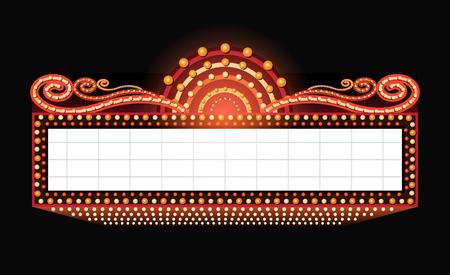 iluminado: señal de neón brillantes de la vendimia brillante cine retro