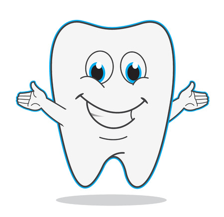 tooth: Cute cartoon teeth smile illustration dentist symbol
