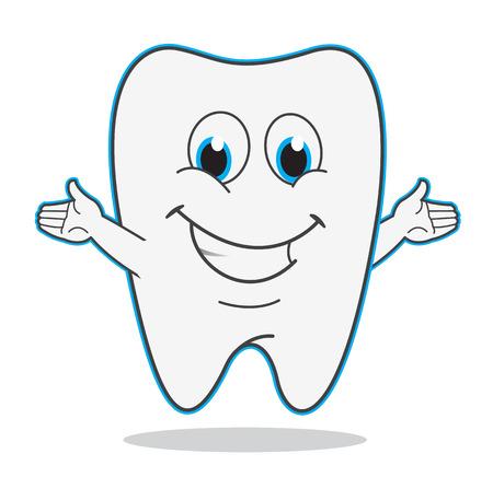 dientes caricatura: los dientes de dibujos animados lindo sonrisa ilustración símbolo de dentista