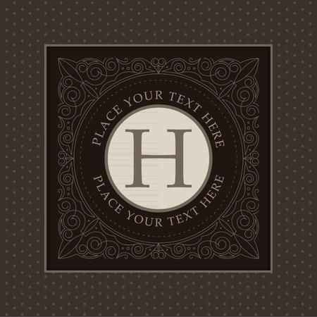 Monogram logo template met bloeit kalligrafische elegant ornament elementen ontwerp Stock Illustratie
