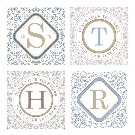 calligraphic design: Monogram logo template with flourishes calligraphic elegant ornament elements design Illustration