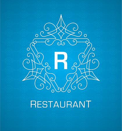 Monogram logo sjabloon met bloeiende kalligrafische elegante ornament elementen ontwerp Stock Illustratie