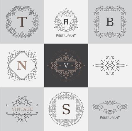 Monogram briefsjabloon met bloeit kalligrafische elegant ornament