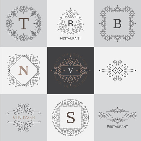 Monogram letter template with flourishes calligraphic elegant ornament Ilustrace