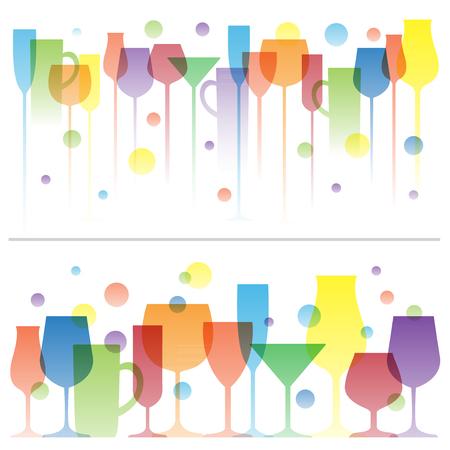 Ilustración colorida abstracta de vidrios de la bebida del vino.