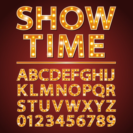 orange neon lamp letters font with show time words 일러스트