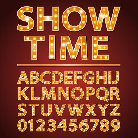 pomarańczowa lampka neon litery czcionki z Show Time słów Ilustracje wektorowe