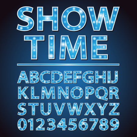 electric blue: blue neon lamp letters font with show time words