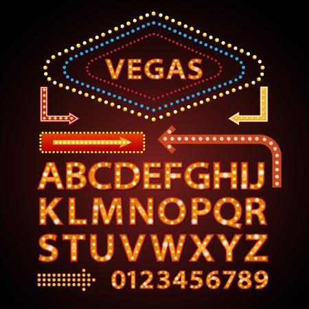 Wektor pomarańczowy neon litery lamp pokaż czcionki kina i Wspaniałe nocne Ilustracje wektorowe