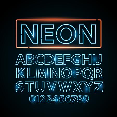 lettres alphabet: bleu néon lettres lampe police spectacle cinéma et théâtre