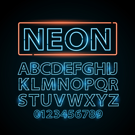 alphabet letters: blue neon lamp letters font show cinema and theater