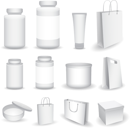 capsules: Blank Big Set of Plastic Packaging Bottles with Cap for Cosmetics, Vitamins, Pills, Capsules, boxes and bags isolated on white